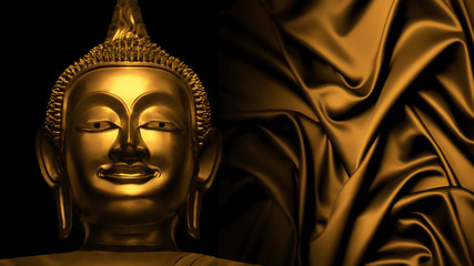 gloden buddha statue on abstract golden tone background