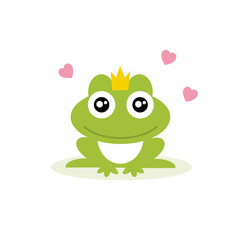 Frog prince. Frog princess. Vector Illustration. Isolated on white bacground.