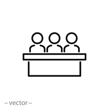 jury group committee icon, jurors linear sign on white background - editable vector illustration eps10