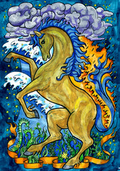 Fotobehang Piraten Horse and nature forces. Hand drawn fantasy graphic illustration. Occult mystic drawing with symbol of eastern calendar zodiac animal, mystic astrology background