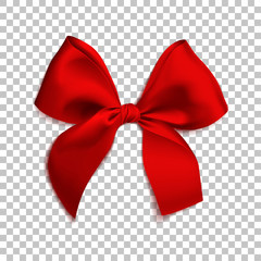 Realistic red bow isolated on transparent background. Template for brochure or greeting card. Vector illustration.