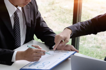 Businessman consult with finance document paper.