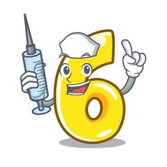 Nurse cartoon number six on the road