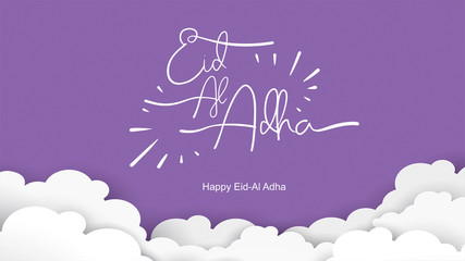 Eid al-Adha handwritten design with fun concept and pastel color