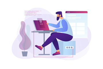 Cartoon programmer at work. Web developer working on laptop in the office. Programming concept. The process of creating web pages. Vector flat illustration.