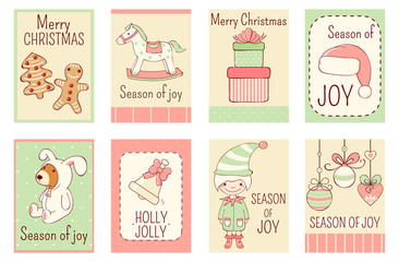 Collection of Christmas banners in retro style