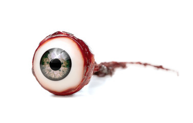 Halloween prop, decoration. Close up of ripped out eyeball isolated on white background Wall mural