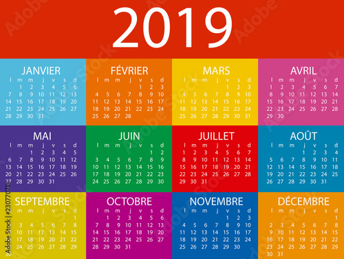 Calendario Frances.Calendario 2019 En Frances Con Colores Saturados Stock