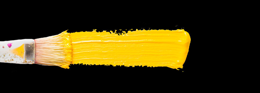 Abstract Yellow Paint Gouache on a Black Background | Yellow Gouache on Black Background