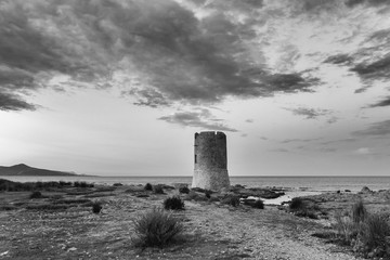 Scenic monochrome outdoor landscape image of the coast with a tower called La Torre on the island Sardinia, Italy, with a view over the sea towards the horizon during sunset