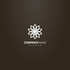 white logo on a black background. simple vector geometric line art logo of a blooming flower