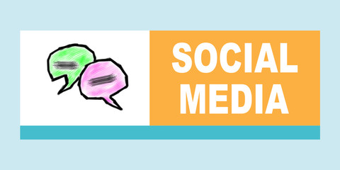 Social Media concept. Illustration with different colored squares