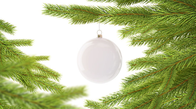 Blank white new year ball hanging on christmas tree mockup, depth of field, 3d rendering. Empty pine branch with toy mock up. Clear xmas adornment on tre. Decorated spruce template.