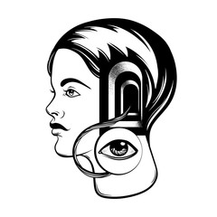 Vector hand drawn illustration of young girl with door in her head and human eye. Tattoo artwork with portrait. Template for card, poster, banner, print for t-shirt.