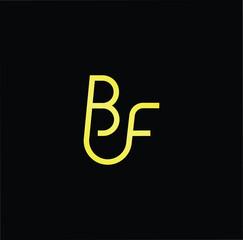 Initial letter BF FB minimalist art logo, gold color on black background.