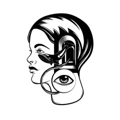 Vector hand drawn illustration of young girl with door in her head and human eye. Tattoo artwork. Portrait with whale. Template for card, poster, banner, print for t-shirt.