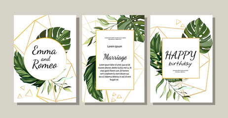 Set of card with exotic leaves. Floral poster, invite. Vector decorative greeting card or invitation design background