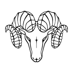 Aries graphic icon. Head ram black sign isolated on white background. Symbol argali. Vector illustration