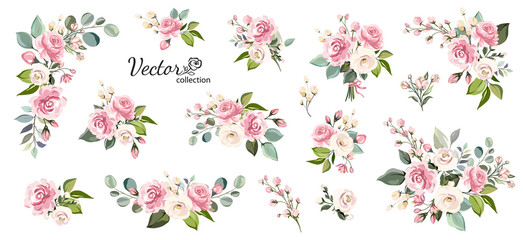 Set of floral branch. Flower pink rose, green leaves. Wedding concept with flowers. Floral poster, invite. Vector arrangements for greeting card or invitation design Fototapete