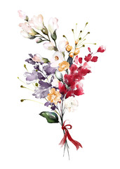 watercolor flowers. floral illustration, Leaf and buds. Botanic composition for wedding or greeting card.  branch of flowers - abstraction