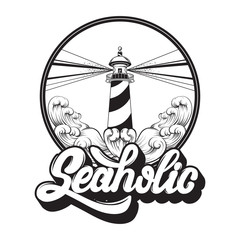 Seaholic. Quote typographical background. Vector handwritten lettering. Template for card, poster, banner, print for t-shirt.