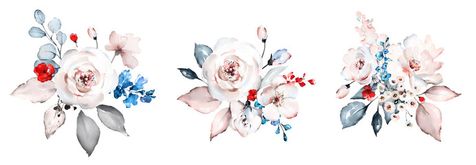 watercolor floral arrangements with red, blue, white flowers.  illustration with Leaves and buds. Botanic floral composition for wedding, greeting card. branch of flowers - abstraction roses