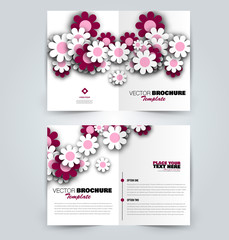 Abstract flyer design background. Brochure template with flowers. Can be used for magazine cover, business mockup, education, presentation, report. Pink color. Vector illustration.