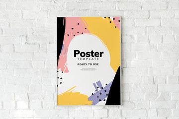 Colorful poster template on a white brick wall Fototapete