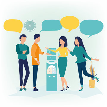 Vector illustration in flat cartoon style. Group of people standing near water cooler or dispenser drink water and discuss social network, news, chat, dialogue speech bubbles. Can use for landing page