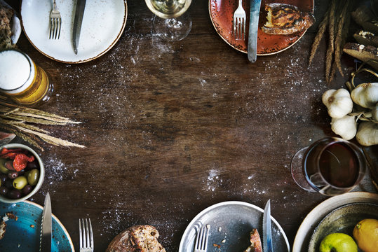 Food frame on a wooden table