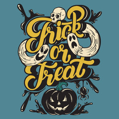 Foto op Canvas Halloween Trick or treat. Vector quote typographical background with handwritten lettering. Hand drawn illustration of ghosts, spider, human skull. Template for card, poster, banner, print for t-shirt.