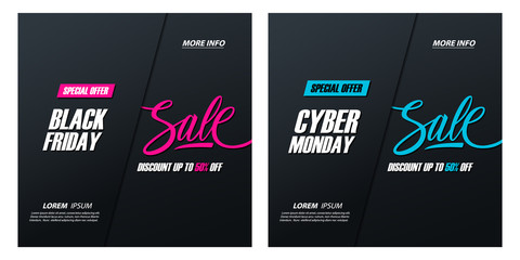 Black Friday Sale and Cyber Monday Sale special offer promotional cards with hand lettering, discount up to 50% off, for  business, promotion and advertising. Vector illustration.