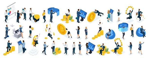 Isometric big set businessmen and business ladies use virtual screens to buy online crypto currency, modern technology, young entrepreneurs