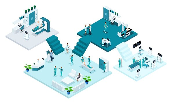 Isometric room of the hospital, Healthcare and innovative technology, medical personnel, patients, examination and diagnosis of the disease, surgery