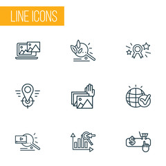 Engine icons line style set with pay per click, geo targeting, photo presentation and other award  elements. Isolated vector illustration engine icons.