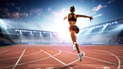 Athlete running race. Mixed media Wall mural