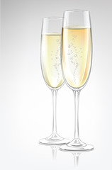 Two transparent vector champagne glasses