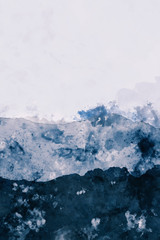 Abstract mountain peak watercolor painting in blue, digital illustration