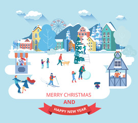 Merry Christmas and Happy New Year card with winter cityscape and people.