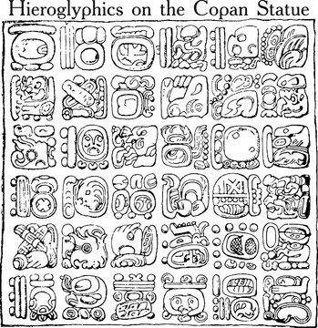 Mayan hieroglyphics isolated on white