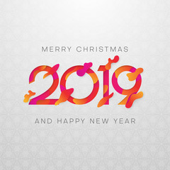 Merry Christmas and Happy New Year 2019 card with colorful figures.