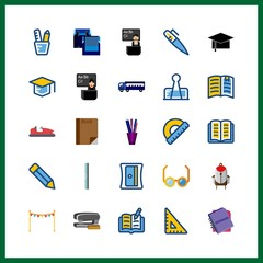 25 school icon. Vector illustration school set. reading glasses and pencil icons for school works
