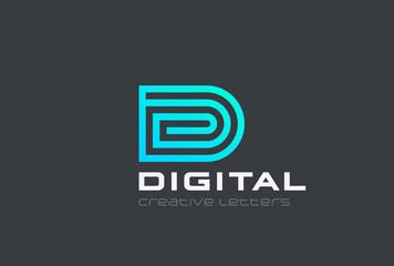 Letter D Logo design vector Linear. Technology Spiral Geometric