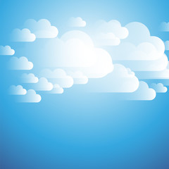 Clouds on the Sky - Background Design Template for Posters, Flyers, Postcards, Headers or Web Banners - Vector Illustration