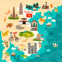 Fototapete - Vietnam abstract map. Colorful vector poster. Old ship and rickshaw icons. Traditional Vietnamese food and rice fields background. Abstract Ha long Bay and mausoleum