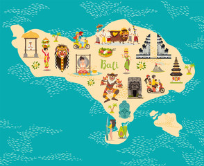 Cartoon map of Bali for kid and children. Bali landmarks vector cute poster. Indonesian culture concept. Illustrated card.