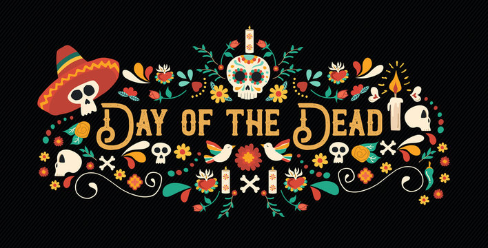 Day of the dead sugar skull typography banner