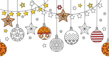 New year hand drawn outline festive seamless border with snowflakes, christmas balls and stars isolated on white background.