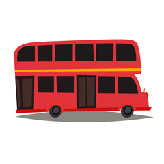 London red bus vector Illustration. England landmark, London city symbol cartoon style. Isolated white background. Travel to United Kingdom Great Britain