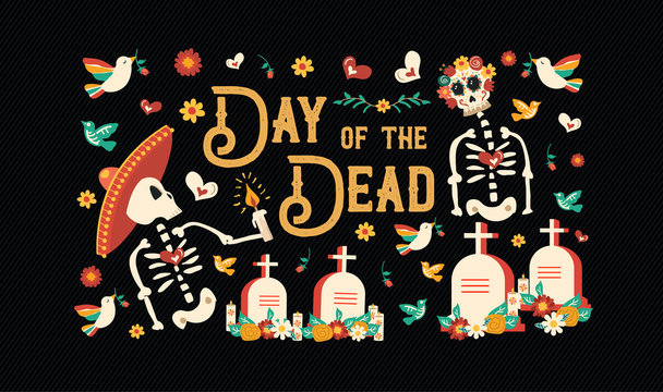 Day of the dead mexican skull celebration card